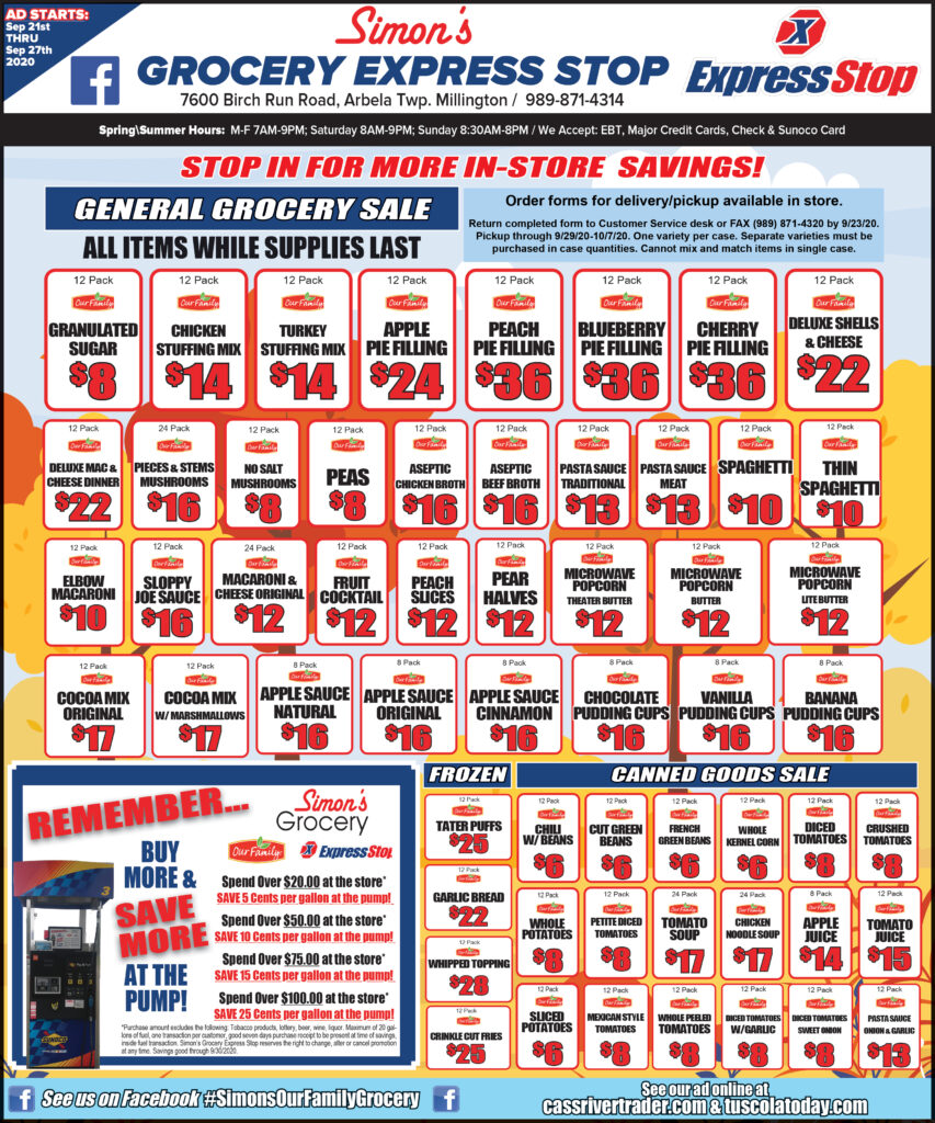Simon's IGA Grocery Store Millington Michigan Sales and Specials